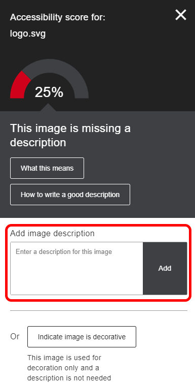 Instructor Feedback Panel indicating that the image is missing a description