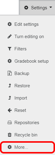 Moodle Settings menu
