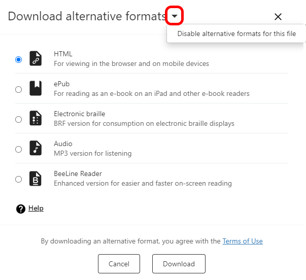 Disable alternative formats for this file