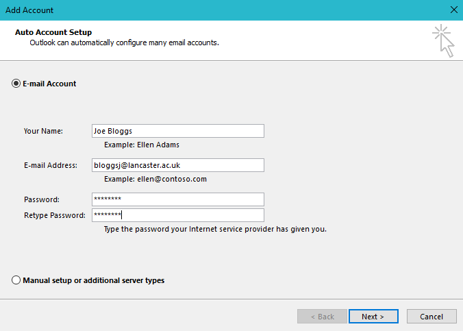 Image of Auto Account window