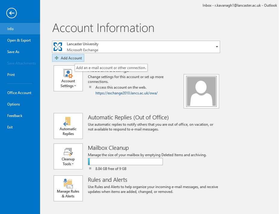 Image of Outlook of Account Information screen