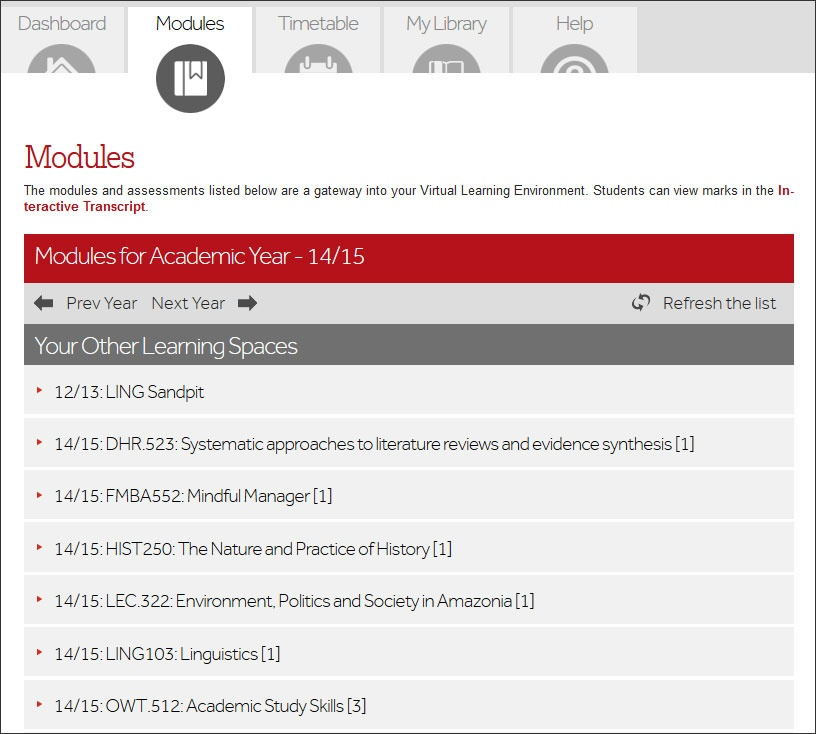 Modules Tab on Moodle