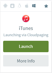 Example launch button for iTunes