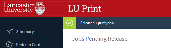 Successful release of print jobs