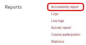 Accessibility Report in the Moodle Course Administration menu